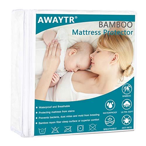 AWAYTR Premium Bamboo Fiber Waterproof Mattress Protector - Ultra Soft Breathable Hypoallergenic Queen Mattress Cover