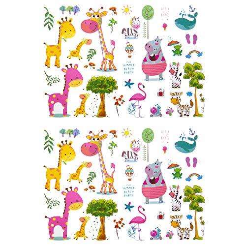Oblique Unique® Kinder Tier Tattoos 74 Stück Farbenfroh Temporär Tier Tattoo Giraffe Wal Frosch Zebra Flamingo UVM. zum Spielen Spielspass zum Kindergeburtstag