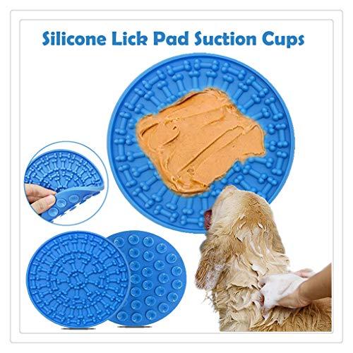 New-wish Chien Lick Pad Chien Dog Tapis de toilettage Parfait pour Chien pour Animaux Chien Lave Distraction Dispositif - Idéal pour Le Bain et Le toilettage (Bleu)