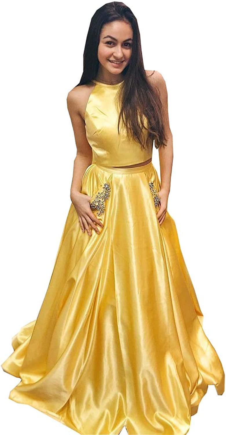 DommyDesign Two Pieces Prom Formal Dress with Pockets Crystal A line Satin Long 2019 Evening Party Dress