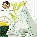 Avrsol Kids Teepee Tent Foldable Children Play Tents with 9.9 Ft Star Light for Girl and Boy