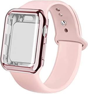 Compatible for Apple Watch Band with Screen Protector 38mm 40mm 42mm 44mm, Soft Silicone Replacement Sport Band Compatible for Apple iWatch Series 1/2/3/4/5