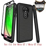 Nuomaofly Moto G7 Power Case,Moto G7 Supra with [Tempered Glass Screen Protector] Rugged Heavy Duty Shock-Absorption Protection (Black)