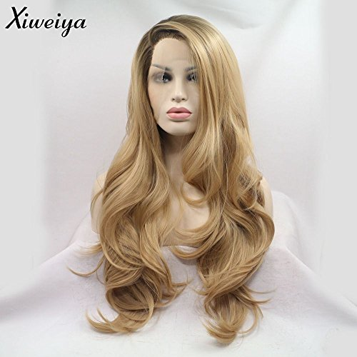 Xiweiya Perruque lace front pour femme Cheveux synthétiques ondulés longs Aspect naturel Fibres résistantes à la chaleur Raie sur le côté Blond/châtain