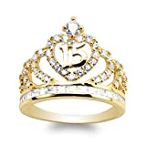 JamesJenny Yellow Gold Plated 15 Anos Quinceanera Crown Ring Size 7