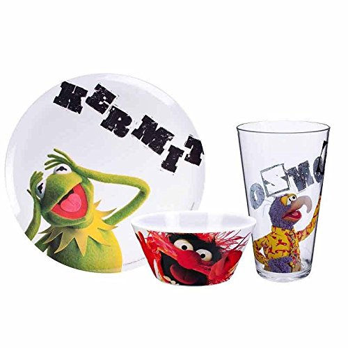 Muppets 3 Piece Plastic Dish Set includes Kermit Plate , Animal Bowl and Gonzo Tumbler