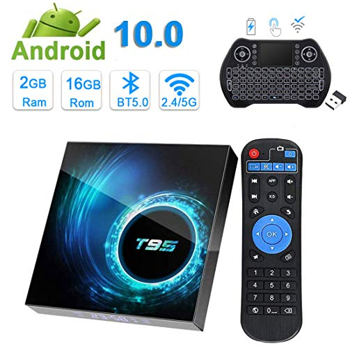 Caja de TV para Android 10.0, EASYTONE Android Box T95 2 GB Ram 16 GB Rom Quad Core 64 Bits Dual WiFi 2.4+5Ghz/BT5.0/6k Ultra HD Smart Set-top boxes con mini teclado retroiluminado inalámbrico