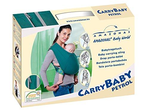 AMAZONAS Babytrage CarryBaby Petrol Bauchtrage 2 Schlaufen stressfrei ohne Knoten 4 Monate – 3 Jahre bis 15 kg - 6