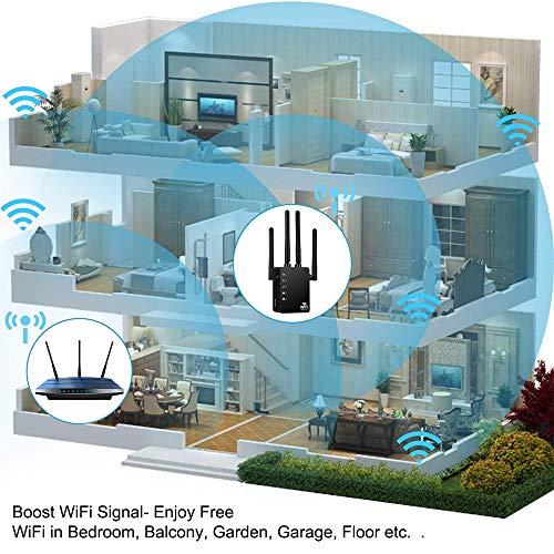 Aigital Répéteur WiFi 1200Mbps, Amplificateur Signal WiFi Relay Double Bande 2.4GHz et 5GHz Repetiteur avec 4 Antennes Externes, 2 Port Ethernet LAN, Compatible avec Toutes Les Box Internet