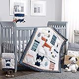 The Peanutshell Puppy Dog Crib Bedding Set for Boys or Girls - 3 Piece Nursery Set - Crib Sheet, Crib Comforter, Crib Skirt