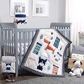 The Peanutshell Puppy Dog Crib Bedding Set for Boys or Girls - 3 Piece Nursery Set - Crib Sheet Crib Comforter Crib Skirt