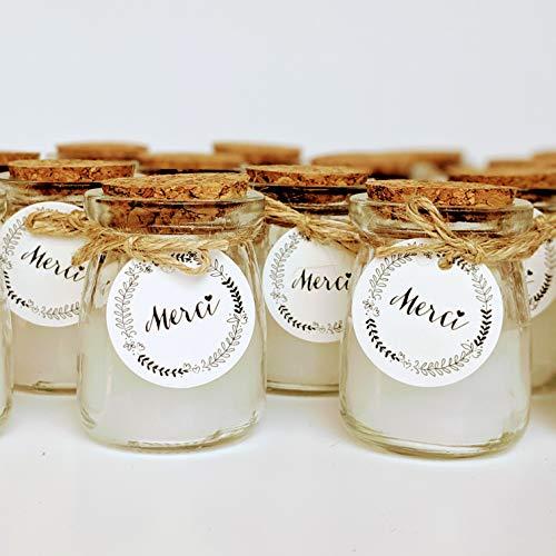 24 velas en un tarro de cristal, con etiqueta Merci, cordel y tapa de corcho, ideal como regalo para invitados y bodas