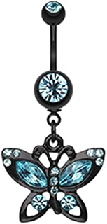 Blackline Butterfly Sparkle 316L Surgical Steel Belly Button Ring (Sold by Piece)