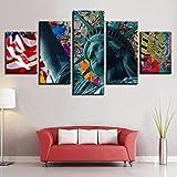 ELSFK Leinwanddrucke 5 Panels Gemälde Artwork