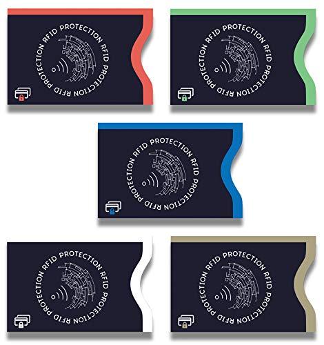 Lebama TÜV geprüfte RFID & NFC Schutzhülle, Blocker Kartenhüllen Schutz für Kreditkarten, EC Karten, Personalausweis, Kartenschutzhülle, Kreditkartenhülle RFID & NFC Schutzhüllen (5er Set)