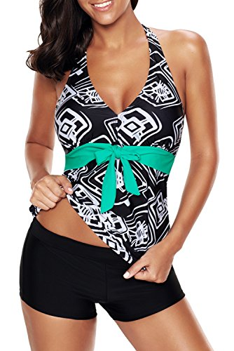 Uniarmoire Womens Printed Halter Tankini Top and Boyshorts Swimsuit Geo 4XL Black