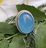 Blue Chalcedony Ring, 925 Sterling Silver, Victorian Ring, Bridesmaid Gift, Promise Ring, Vintage Style, Promise Ring, Statement Ring, Bohemian Jewelry, Large Ring, Handmade Jewelry, Gift For Her