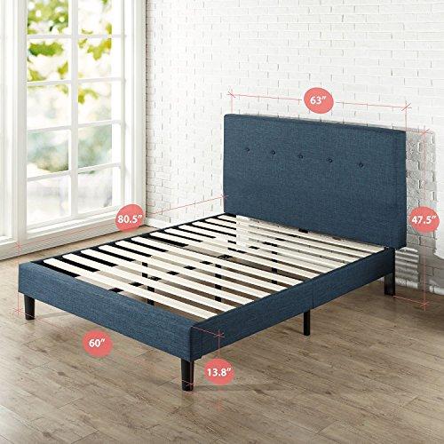 Zinus Omkaram Upholstered Navy Button Detailed Platform Bed / Mattress Foundation / Easy Assembly / Strong Wood Slat Support, Queen