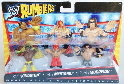 Kofi Kingston Rey Mysterio John Morrison Figurines Set WWE Rumblers
