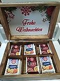 Fajna Fabryka Teekiste Teebox aus Holz Kiefer Weihnachten Handmade Massivholz inkl. Tee