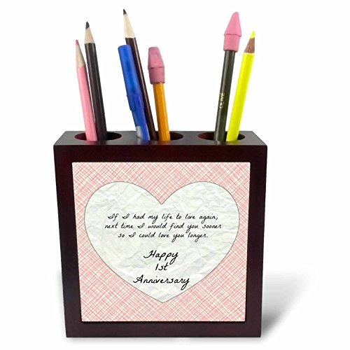3drose PH 221892 1 Happy 1st Anniversary to My Love op Faux papier achtergrond Tile Pennenhouder, 12,7 cm