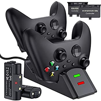 BEBONCOOL Station for Xbox One Controller Charger Controller Charger Station Work with Xbox Series X S/Xbox One/One S/One X/Xbox Elite Charging Station with 2x1200 mAh Rechargeable Battery