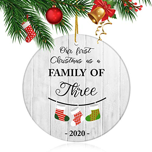 """Gemwi Our First Christmas as a Family of Three 2020, Newborn New Baby Parents Mom Dad Xmas, Christmas Tree Ornament 3"""" Round Ceramic Ornament with Gift Box Xmas Present"""
