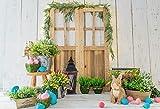 Fondos de Pascua para fotografía Flores de Primavera Huevos de Conejo Cubo Piso Gris Fondo de fotografía de Fiesta de bebé Estudio fotográfico A28 1.5x1m