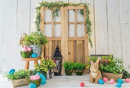 Fondos de Pascua para fotografía Flores de Primavera Huevos de Conejo Cubo Piso Gris Fondo de fotografía de Fiesta de bebé Estudio fotográfico A28 3x3m