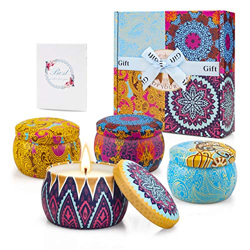 Scented Candles Brithday Gifts for Women 100% Natural Soy Wax Candles Set 4.4 Oz Aromatherap Candle with Essential Oils for Mothday Gifts,Yoga,Bath Portable Travel Tin Candle-4 Pack