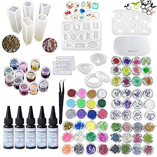 Colle UV de résine époxy cristal 5X30ML, 72 Décoration avec lampe et pince à épiler, moule en silicone transparent 13Pcs 100 anneaux accessoires en métal pour bijoux artisanaux Boucles d'oreilles