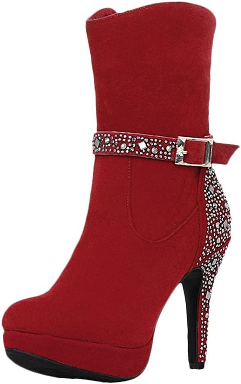 Agodor Womens Platform High Block Heel Mid Calf Boots with Zip Closed Toe Glitter Winter shoes