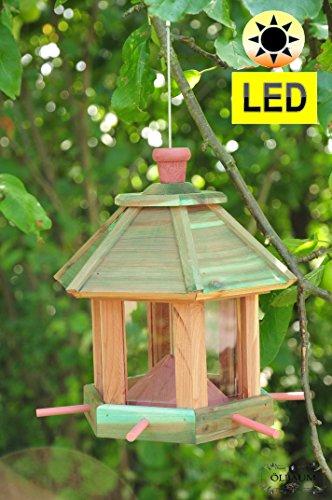 ÖLBAUM Futterhaus Vögel, ZedernHolz - MIT Beleuchtung,LED-Licht/Vogelhaus & Futterstation,Wetterfest MEERESBLAU (ANTIKBLAU),Bel-türkis groß, Premium Vogelhaus & Futterstation