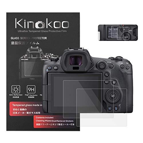 kinokoo Displayschutzfolie aus gehärtetem Glas für Canon EOS R5, kristallklar, mit Displayschutzfolie (2 Stück)