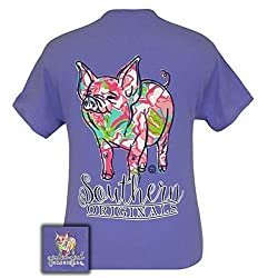 Girlie Girl Originals Youth Pattern Pig Short Sleeve T-shirt-Violet