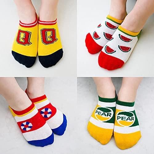 10 pares Calcetines de algodón suave de dibujos animados bonitos para niños, calcetines de tobillo para bebés con frutas y bebidas, calcetines bonitos para niños y niñas, calcetines para niños