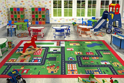 Kids Children Large Girls Boys Fun Rugs Green Town (100x165cm) City Playground Bedroom Playroom Floor Mat Non Slip Play Available in 2 Sizes