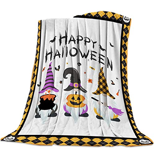Sweet Comfort Dream Halloween Gnome Bat Skull Flannel Fleece Blankets Luxury Couch Cover Blanket Yellow Plaid Soft Lightweight Plush Throw Blankets for Couch/Chair/Bedroom All Season, 40x50 inches