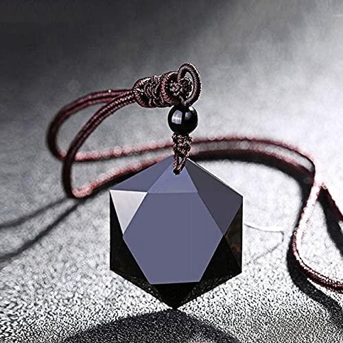 XIAOMAI 1 Pieza de obsidiana Negra Seis Estrellas Amuleto de la Suerte Amor Colgante de Piedra Natural Collar para Mujeres Hombres Amor péndulo de Cristal joyería