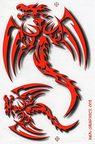 Fliegender Drache rot Sticker Aufkleber Folie 1 Blatt 270 mm x 180 mm wetterfest