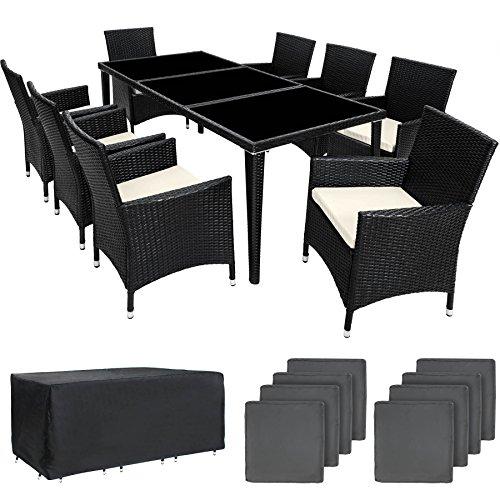 TecTake 800104 Aluminium Poly Rattan Essgruppe, 8 Stühle + 1 Esstisch mit Glasplatten, inkl. 2 Bezugssets und Schutzhülle - Diverse Farben (Schwarz | Nr. 401161)
