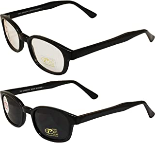 Pacific Coast Sunglasses Original KD's Biker Sunglasses 2-pack Clear and Smoke Lenses