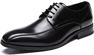Leather Business Oxford for Men Formal Shoes Square Toe Faux Leather Lace up Deodorization Anti-slip Stitching 3cm shoes (Color : Black, Size : 39 EU)