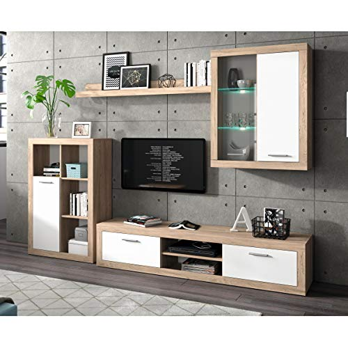 Homely - Mueble de salón Modular Formentera Color Roble y Blanco de 270 cm