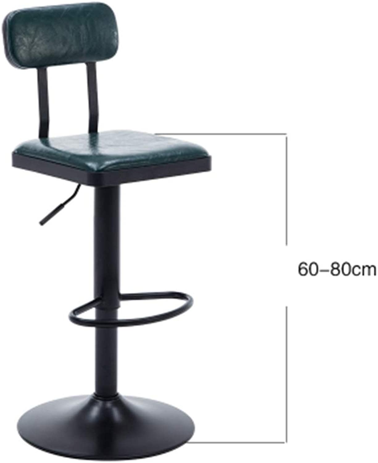 A-Fort Retro Bar Stool Kitchen Cafe Dining Chair Comfortable Leather Backrest High Stool Lift Swivel Chair (color   Dark Green)