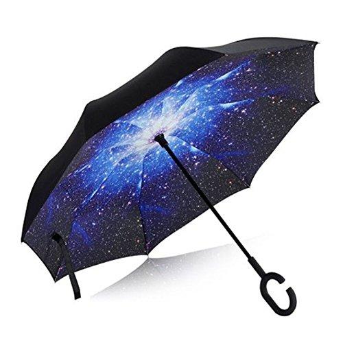 Double Layer Umgekehrten Schirm von AIQI - Stark Wasserdicht / UV-Schutz / Winddicht - Sunny oder Rainy Amphibious mit C-förmigen Hands Free Griff, am besten für Reisen und Auto verwenden