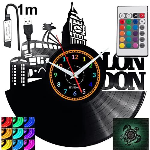 London RGB LED Pilot Reloj de pared para mando a distancia, disco de vinilo, moderno, decorativo para regalo de cumpleaños