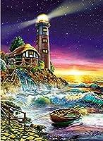 NC56 DIYデジタル絵画油絵大人の初心者キャンバス抽象芸術子供絵画アクリルキットリビングルーム寝室家の壁の装飾日没海辺の灯台