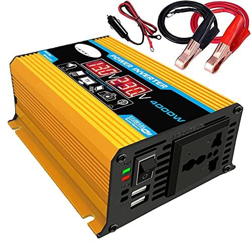 LZH FILTER Onda Sinusoidal Modificada del Inversor de Corriente del Coche, 4000w DC 12v A AC 110v / 220v, Convertidor de Batería del Vehículo, con 1 Ventiladores de Refrigeración (Amarillo)