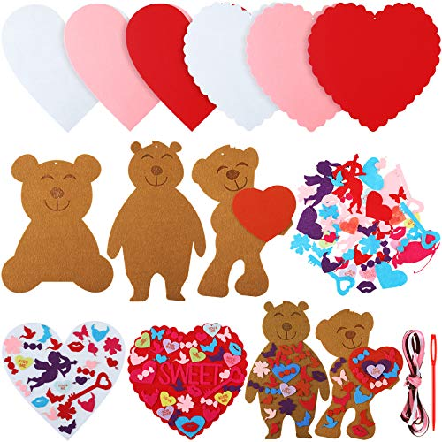 542 Pieces Valentines Day Felt DIY Ornaments Set Includes Heart Bear Cupid Butterfly Lips Self-adhesive Felt Accessories DIY Craft Supplies Art Decorations for Valentine's Day, Wedding, Birthday Party